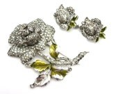Dujay Rhinestone Brooch and Earring Set - Pave Roses with Enamel RARE