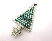 Christmas Jewelry - Rhinestone Christmas Tree Brooch, Holiday Xmas Costume Jewelry