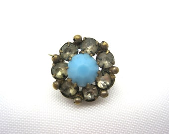 Antique Victorian Brooch - Turquoise Glass and Paste