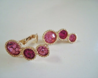 Vintage Sarah Coventry Pink Rhinestone Clip On Earrings
