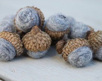 Wool Needle Felted Acorns in Marbled Gray Home and Living Nature Home Decor