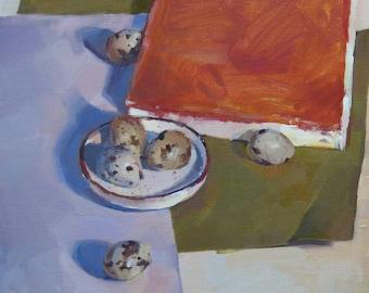 "Art painting still life ""Six Quail Eggs"" oil on canvas by Oregon artist Sarah Sedwick 12 x 12"""