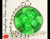 Four Leaf Clover Necklace Jewelry - St Patricks Day Necklace Jewelry - Lucky Clover Style-A Small Pendant - Square Or Round - Shamrock