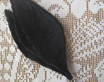 Millinery Velvet Leaves Czech Republic 6 Embossed Black Velvet Leaves  NLC  110 BK