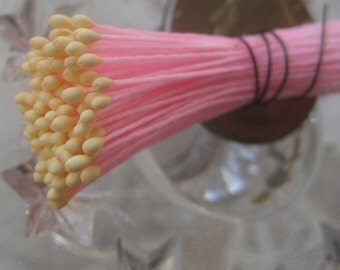 Millinery Flower Stamen Made In Germany Flower Peps 100 Stems Pink And Yellow 86-3