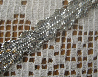 3 Yards Vintage Tiny Metallic Trim Silver Old Store Stock Miniature Doll House Trim AW 9