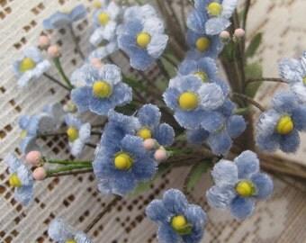 Czech Republic Velvet Forget Me Nots Millinery Fabric Flowers Blue