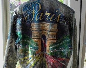 Vintage PARIS France 1980s Tony Alamo Designer Denim Jacket Hand Painted Austrian CRYSTAL Studded