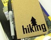Moleskine cahiers journal with black hiking or camping vinyl graphic - hiking gear - camping gear - hike - travel journal - travel diary