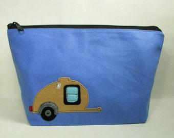 Large sky blue cotton canvas gusset bottom cosmetic zipper pouch with teardrop camping trailer felt applique -  teardrop trailer - camper