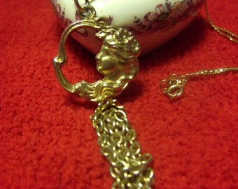 Gold Goddess Pendant and Chain 10K Gold IF 16 Inch Chain