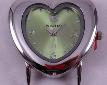 CLEARANCE Heart.. Cute Heart Shaped Solid Bar, Ribbon Watch Face, Silver Plated
