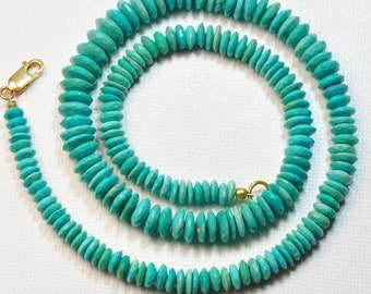 "5.6mm-9.1mm Sleeping Beauty Turquoise Faceted German Cut Rondelle Beads 17"" Strand"