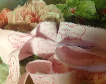 For You - Vintage Valentine Romantic Hand Stamped Ribbon Trim