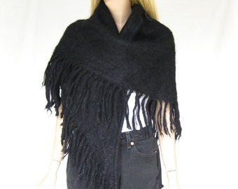Vintage Black Large Mohair Shawl