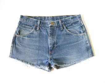 Vintage 80s Rustler Denim Cut Off Shorts.