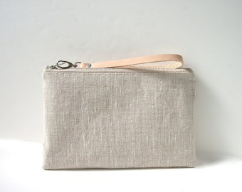 Simple Clutch Bag, Linen Clutch, Wristlet, Purse, Neutral, Oatmeal Linen and Leather for Women, Minimalist