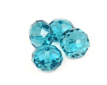12mm INDICOLITE Swarovski Beads - Teal Blue Peacock Blue Beads - Article 5040 12mm Donut Saucer Beads