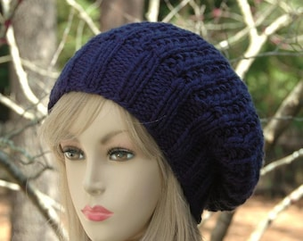 Navy Blue Knit Slouchy Hat, Slouchy Beanie Hat, Oversized Beanie, Chunky Knit Hat,  Hand Knit Women's Winter Hat, Chunky Blue Hat Reversible