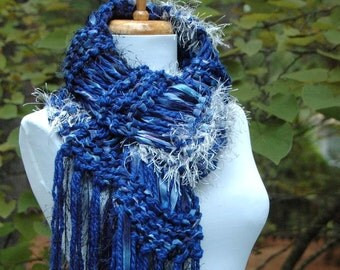 Blue Knit Scarf, Chunky Scarf, Vegan Scarf, Fringe Scarf, Womens Scarf, Winter Scarf, Ribbon Scarf, Silver and Blue Hand Knitted Scarf