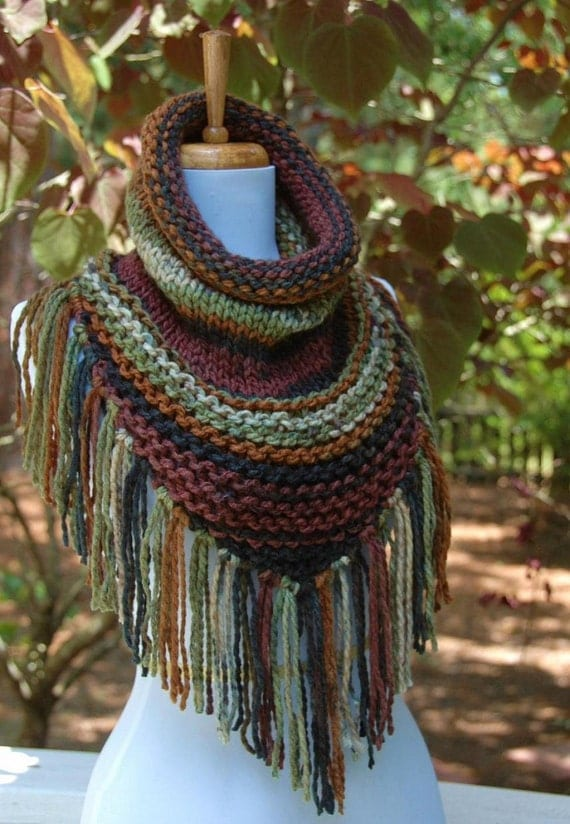 Knit Triangle Scarf Cowl with Fringe Chunky Scarf by PhylPhil