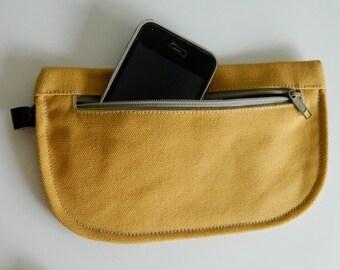 SALE SALE SALE  20% Sale -  // D- Pouch in Mustard // Wallet / clutch / cosmetic bag / iphone case /  travel / Women /  Pouch