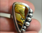 Deschutes Picture Jasper Sterling Ring with Silver Orbs - Size 7-1/2