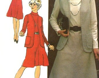 1970s Dress Pattern Simplicity Vintage Vest Roll Collar Sewing Women's Misses Size 16 Bust 38 Inches