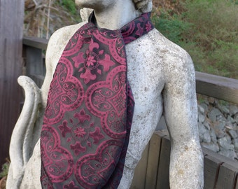 Black and Maroon Medieval Pattern Satin Ascot