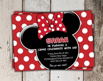 Red Minnie Mouse Invitations (other colors/styles available) - Birthday Invitations - print yourself JPG