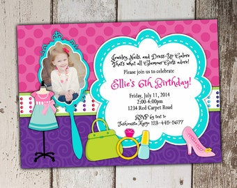 Fashionista Invitations - Glamour Girl - Dress Up Birthday Party - photo spot - print yourself JPG