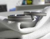 Matching Ring SET, Titanium Silver Pinstripe Inlay Wedding Bands