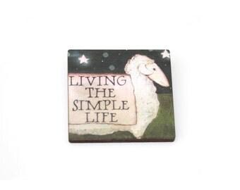 Sheep Brooch, Wooden Lamb Brooch, Sheep Illustration, Animal Brooch