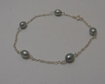 Genuine Freshwater Pearl Tin Cup Station Bracelet