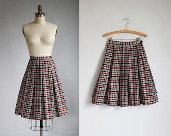 1950s cotton plaid full skirt / xs - s