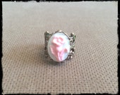 Oxidized Copper Cameo Filigree Ring Pink Flowers