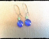 Sapphire and Lime VIntage Czech Glass Earrings
