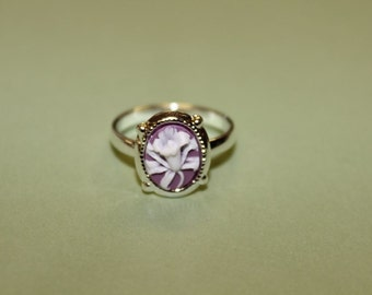 Tiny Mauve Wildflower Dainty Silver Cameo Ring