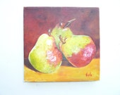A Pear Array pear paintings fruit paintings kitchen art art decor small work of art colorful