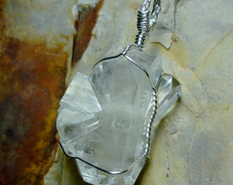 Apophyllite Crystal Cluster Sterling Silver Wire Pendant