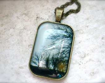 Blue Sky And Trees Photography Necklace Glass Photo Brass Pendant - Golden Winter
