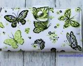 Handmade Long Wallet  BiFold Clutch - Vegan Wallet - Green butterfly