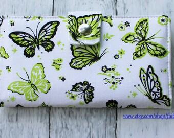 Handmade Long Wallet  BiFold Clutch - Vegan Wallet - Green butterfly or half size unisex wallet