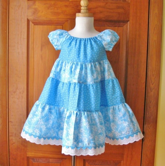 Girl toddler tiered twirly peasant dress blue with white butterflies Size 1/1T Ready to Ship, Clearance