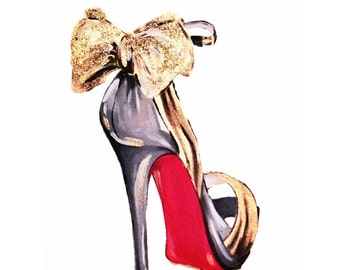 Print of Gold Glitter Bow  High Heel Fashion Illustration