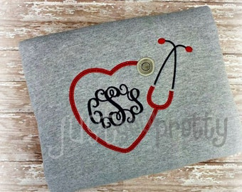 Monogram Heart Stethoscope Embroidery Applique Design