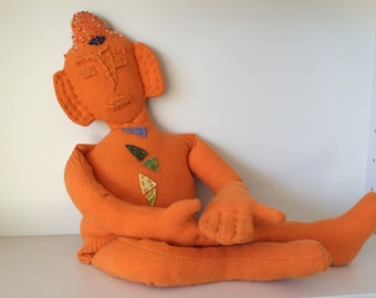 Zen Buddha Doll (clementine orange) with Chakras, OOAK art doll, Cashmere, Upcycled Sweater, Handmade, Numbered, Unique,
