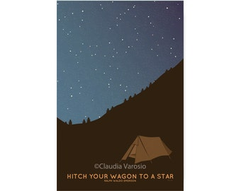 Camping under the stars quote inspirational print in various sizes