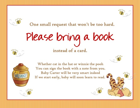winnie the pooh baby shower bring a book insert card printable