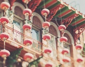 Chinatown photo, San Francisco photograph, red paper lanterns, chinese asian decor, Moon Festival, green, California wall art, travel photo